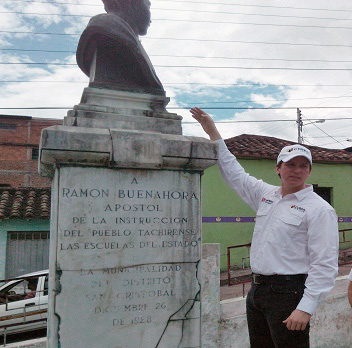 El busto de Ramón Buenahora, desde 1928 en su plaza homónima, fue robado en agosto de 2017. Foto TW @corpotachira, 2016.