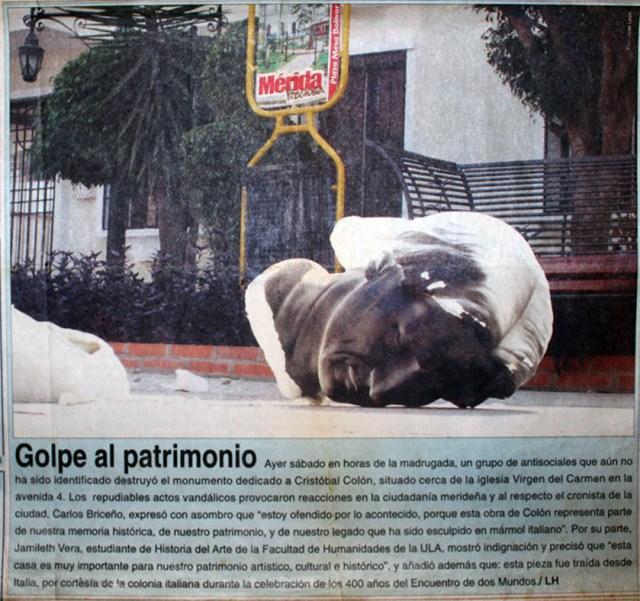 Reseña en el diario Frontera sobre vandalización del monumento a Cristóbal Colón, Mérida. Digitalización Samuel L. Hurtado Camargo.