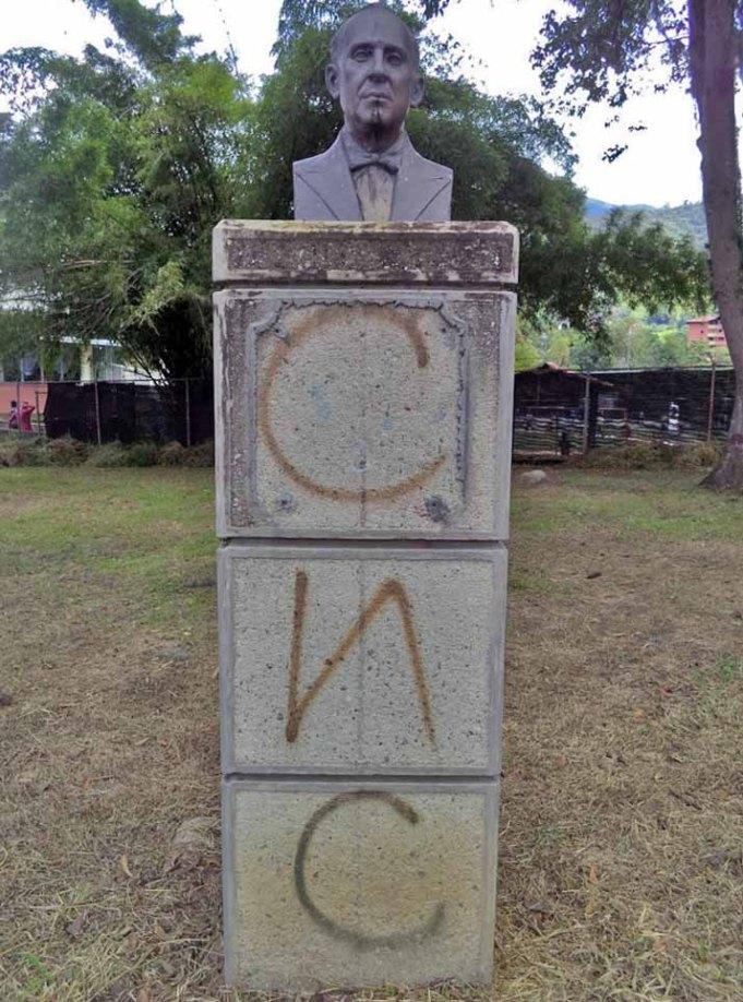 Monumento a Julio Sardi, tras su restauración en 2008. Finalmente desapareció del parque de Los Escritores Merideños. Foto Samuel Hurtado Camargo, 21 de junio de 2017