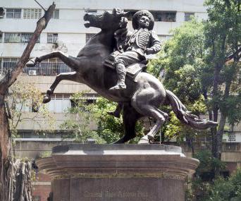 Monumento a José Antonio Páez en El Paraíso (Andrés Pérez Mujica, 1903). Foto de la ong ordenvenezuela.org, abril de 2018.